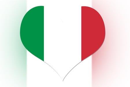 Italian Flag in the shape of a heart photo