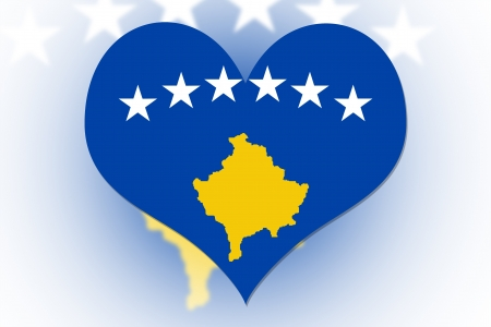 Kosovo Flag in the shape of a heart photo