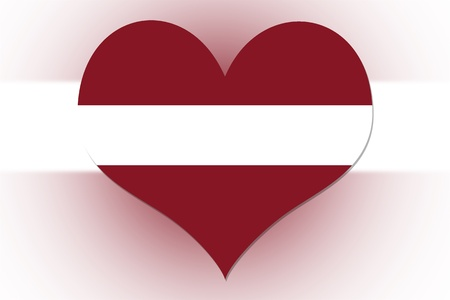 Latvian Flag in the shape of a heart photo