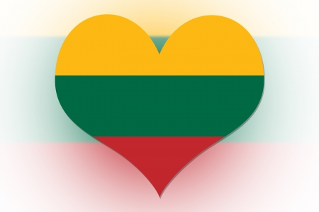 Lithuanian Flag in the shape of a heart photo