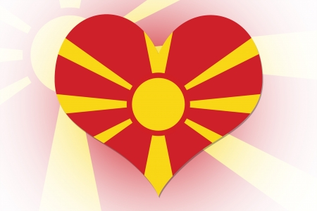 Macedonian Flag in the shape of a heart photo