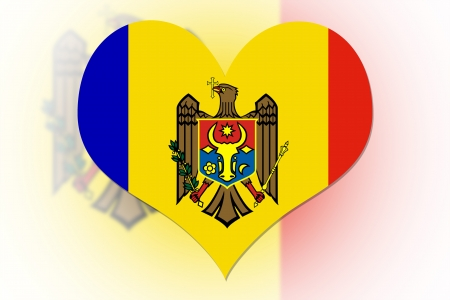 Moldavian Flag in the shape of a heart photo