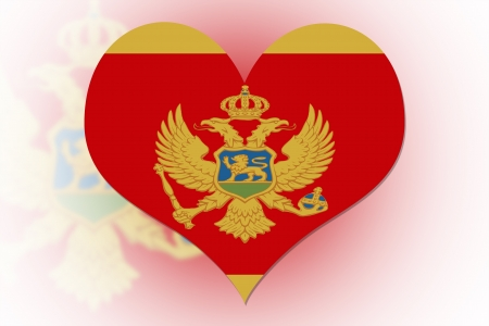 Montenegrin Flag in the shape of a heart photo