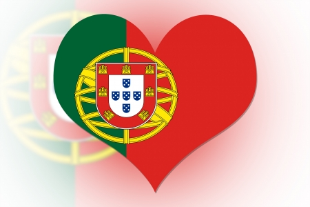 Portuguese Flag in the shape of a heart photo