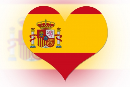 Spanish Flag in the shape of a heart photo