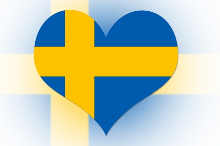 Swedish Flag in the shape of a heart photo