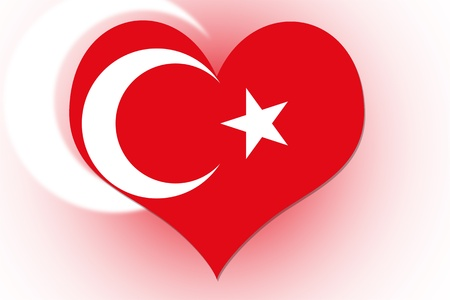 Turkish Flag in the shape of a heart photo