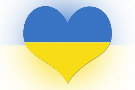 Ukrainian Flag in the shape of a heart photo