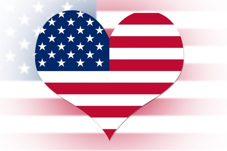 USA Flag in the shape of a heart photo