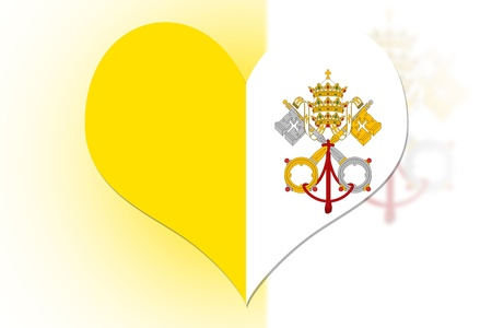 Vatican City Flag in the shape of a heart photo