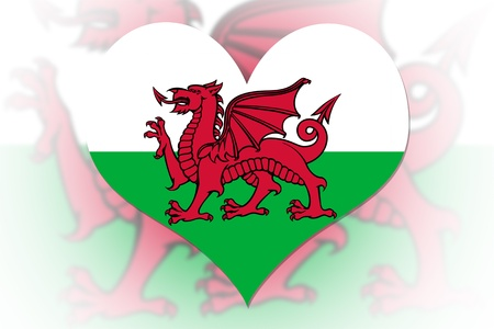welsh flag: Welsh Flag in the shape of a heart Stock Photo