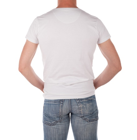 viewed from behind: Man in a blank white shirt viewed from behind isolated on white
