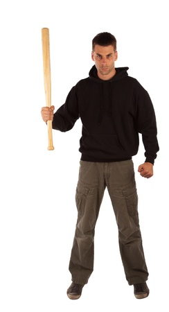 Angry man with baseball bat isolated on white Stock Photo - 21623033