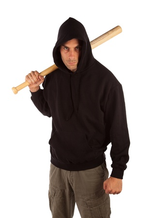 Angry hooligan with baseball bat isolated on white. Focus on bat photo