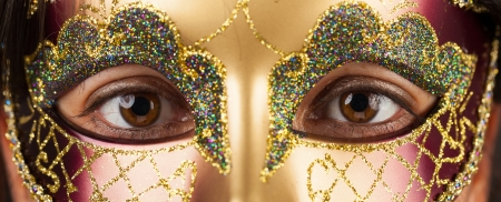 Close-up of a woman with a venetian mask photo