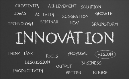 Innovation word cloud written on a chalkboard photo