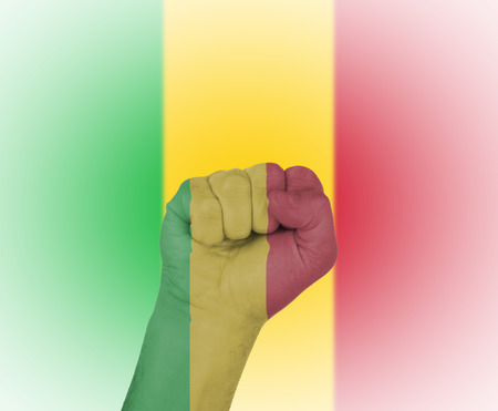 Fist wrapped in the flag of Mali and flag in the background photo