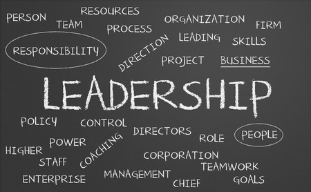 Leadership word cloud written in a chalkboard photo