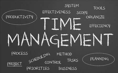 time management: Time management word cloud written on a chalkboard Stock Photo