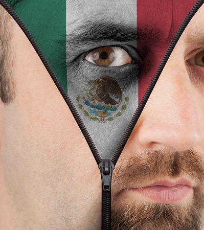 close-up of a face unzipping to show the flag of Mexico photo