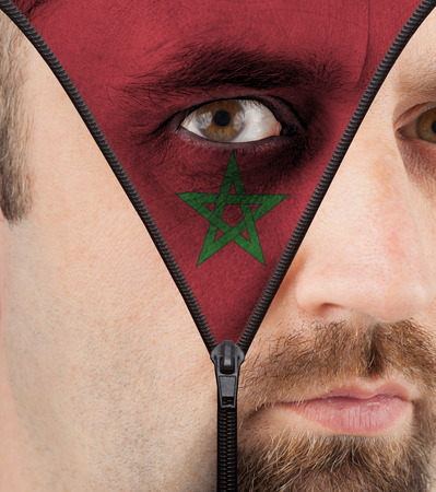 close-up of a face unzipping to show the flag of Morocco photo