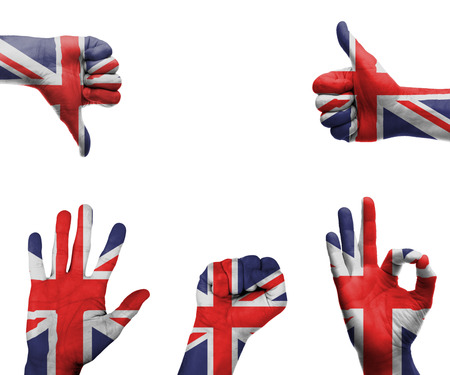A set of hands with different gestures wrapped in the flag of the UK photo
