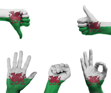 welsh flag: A set of hands with different gestures wrapped in the flag of Wales Stock Photo