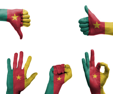 A set of hands with different gestures wrapped in the flag of Cameroon photo