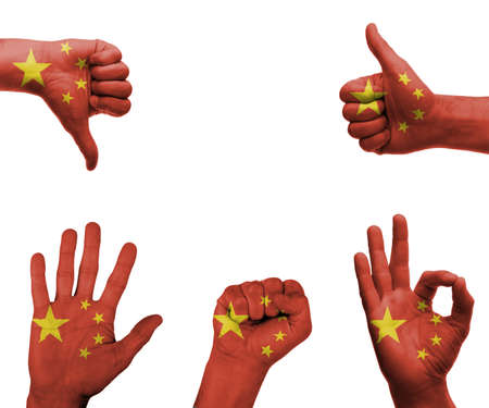 A set of hands with different gestures wrapped in the flag of China photo