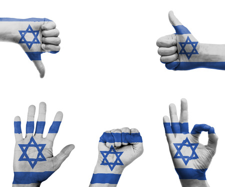 A set of hands with different gestures wrapped in the flag of Israel photo