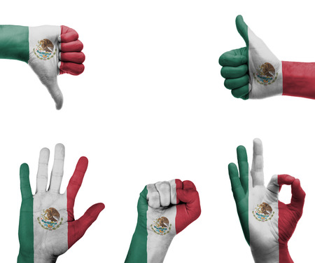 A set of hands with different gestures wrapped in the flag of Mexico photo