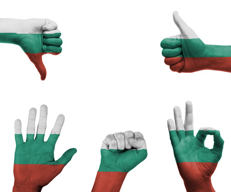 A set of hands with different gestures wrapped in the flag of Bulgaria photo