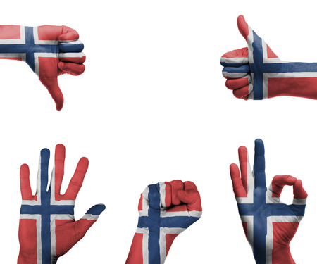 norway flag: A set of hands with different gestures wrapped in the flag of Norway