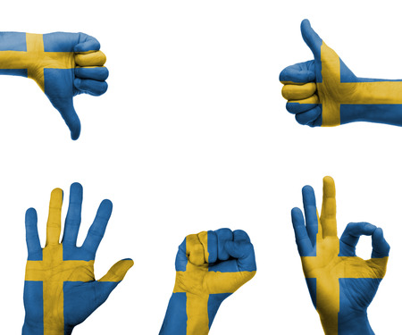 A set of hands with different gestures wrapped in the flag of Sweden
