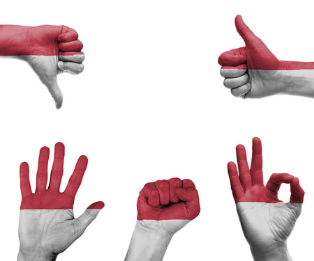 A set of hands with different gestures wrapped in the flag of Monaco photo