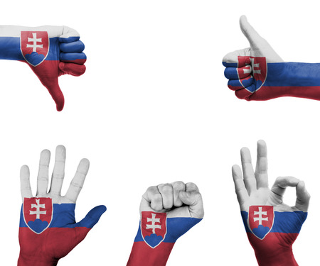 A set of hands with different gestures wrapped in the flag of Slovakia photo