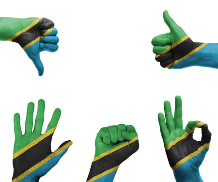 A set of hands with different gestures wrapped in the flag of Tanzania photo