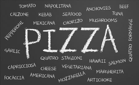 margherita: Pizza word cloud written on a chalkboard Stock Photo