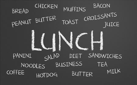 A lunch word cloud written on a chalkboard photo