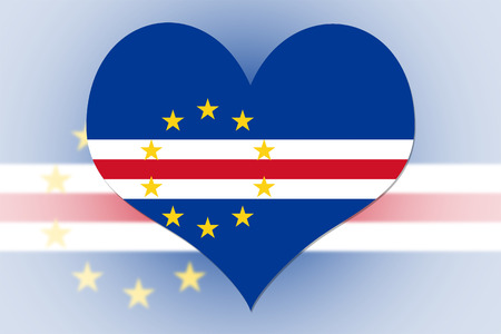 cape verde flag: Cape Verde Flag in the shape of a heart Stock Photo