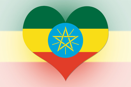 Ethiopia Flag in the shape of a heart photo