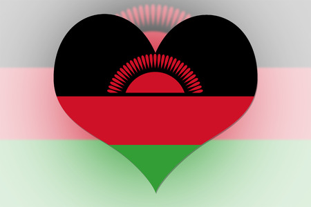 malawi: Malawi Flag in the shape of a heart Stock Photo