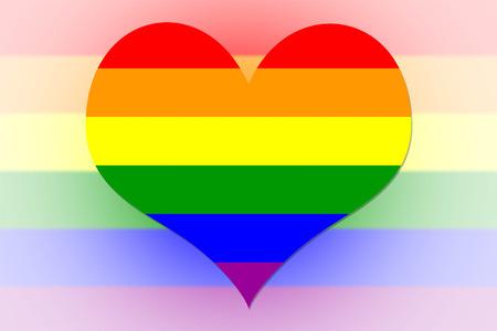 amor gay: Bandera del arco iris en la forma de un corazón Foto de archivo