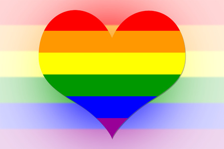 Rainbow Flag in the shape of a heart Stock Photo