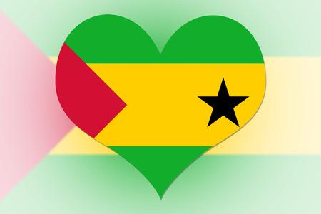 tomo: Sao Tome e Principe bandiera a forma di cuore