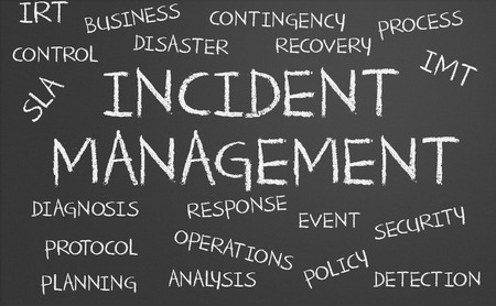 Incident Management word cloud written on a chalkboard Archivio Fotografico