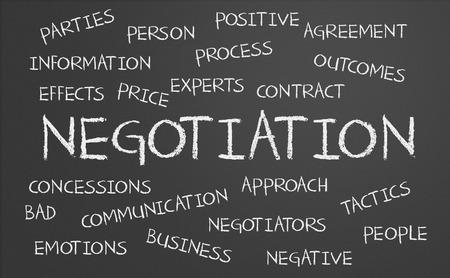 negotiation: Palabra Negociaci�n nube escrito en una pizarra