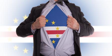 cape verde flag: Businessman rips open his shirt to show his Cape Verde flag t-shirt