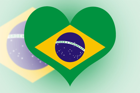 Brazil Flag in the shape of a heart photo