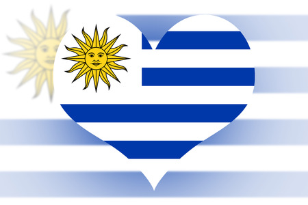 uruguay flag: Uruguay Flag in the shape of a heart